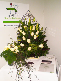 Green Cathedral Bridal arrangement and bouquet