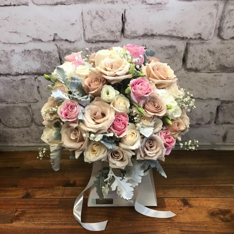 Wedding Bouquet, Cappucino roses, pink roses, white lisianthus
