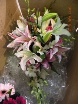 Julie oriental lily bridal bouquet