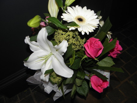 Lily, Roses, Gerbera Pink & White Flower Arrangement