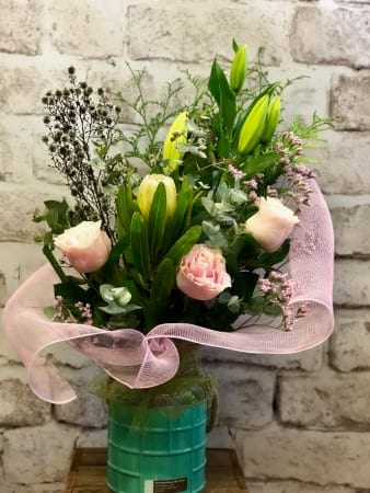 Pink Flower Bouquet in a  Vase
