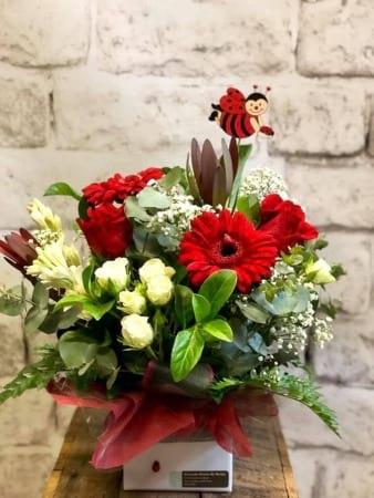Ladybird Box Arrangement, Red & White Flowers