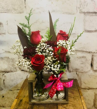 Red Roses & Babies Breath in Double Vase