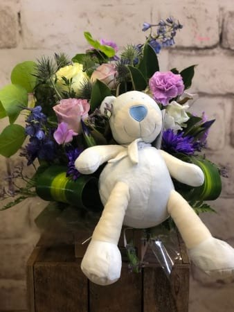 Baby Blues Flower Arrangement & Teddy