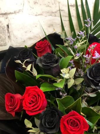 Black Roses and Red Roses Bouquet