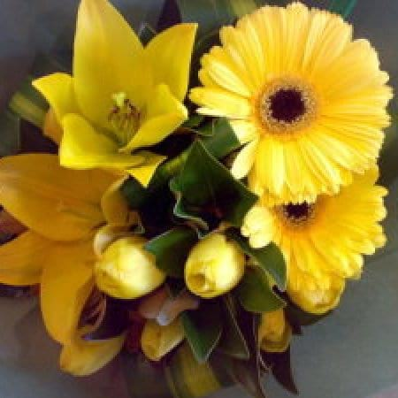 Bright Yellow Flower Bouquet- Gerberas and Lily