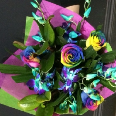 Rainbow Roses and Singapore Orchids delivered!
