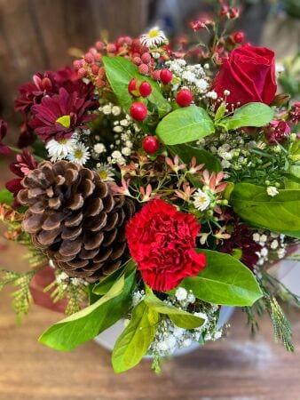 Red & White Flowers Arrangement Delivered Charlestown