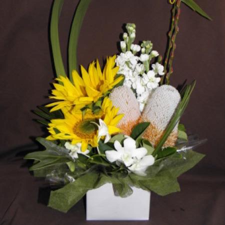 Sunflowers, White Stock, Native flowers Arrangement