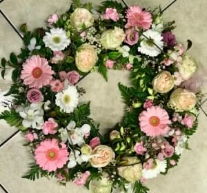 Pink & White Floral Sympathy Wreath