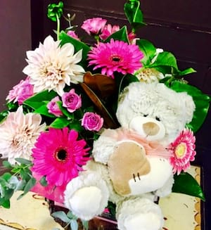 Bearly Resistable Baby Girl Arrangement