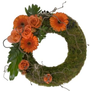 Moss Covered Wreath Orange Arrangement