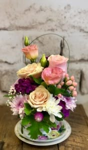 Purple Double Teacup Arrangement